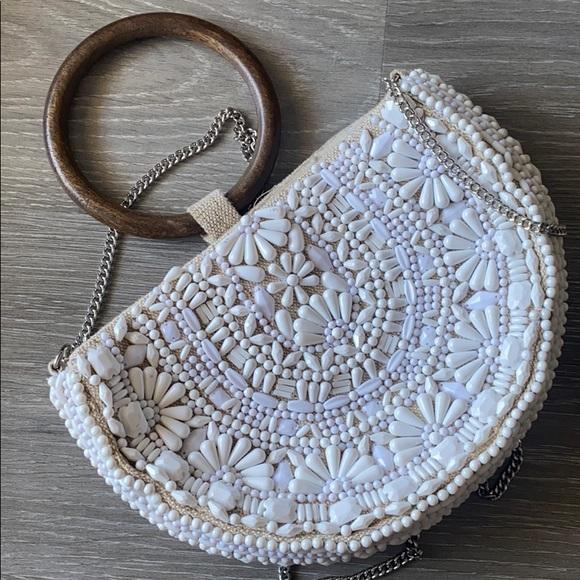 Beaded wooden handle Zara bag